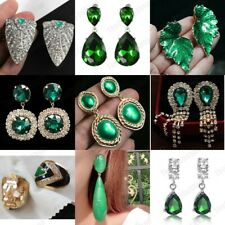 CLIP ON retro GREEN EARRINGS COLLECTION vintage style clips ENAMELLED metal UK