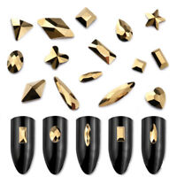 20 50 100pcs Gold 3D Nail Art Rhinestones Flat Shaped Elongated Glass Stones NEW