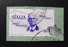 """ITALIA,ITALYREGNO 1934 """" Volo Roma -mogadiscio"""" 1 V. P.Aerea 1Lira su carta USED"""