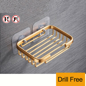 Soap Dish Holder Wall Mounted Storage Rack Drill Free Bathroom Kitchen 1PC