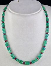 NATURAL EMERALD RUBY BEADS CARVED ROUND 1LINE 165CTS GEMSTONE LADIES NECKLACE