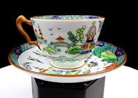 """CROWN STAFFORDSHIRE #5356 YE OLDE WILLOW 2 3/8"""" CUP & SAUCER SET 1906-1930"""