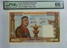 1957 LAOS 100 kip PMG66 EPQ GEM UNC  {P-6a} Prefix A