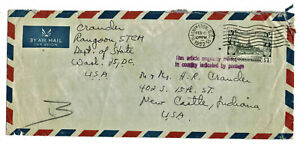 Cover from Rangoon Burma with single Scott 109 stamp post 1952 diplomatic pouch