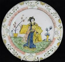 UNUSUAL ANTIQUE CONTINENTAL TIN GLAZE CHARGER CHINOISERIE JAPONESQUE DELFT