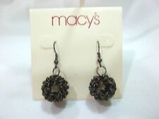 MACY'S BLACK DONUT STYLE HOOK PIERCED EARRINGS GOES WITH EVERYTHING /  NICE