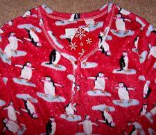 NWT Karen Neuburger Cherry Red SKATING PENGUINS Fleece Nightgown Pajamas M Xmas