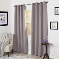 Lavish Home Linen Look Black Out Curtain Panel - 84 Inch - Silver