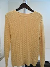 Lands' End Cashmere & Cotton Blend Yellow Med-Thick Crew-neck Sweater - Sz-18-20