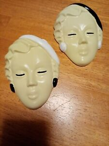A Pair of Art Deco Style lady face/plaque/mask wall hanging,hand painted