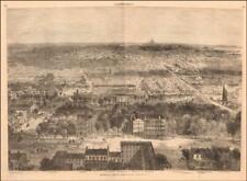 WASHINGTON D.C. fine birds eye view, detailed, antique engraving original 1869