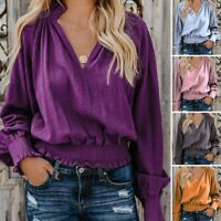 Womens Daily Cotton Linen Solid Long Sleeve Loose V Neck Tops Casual Blouse US