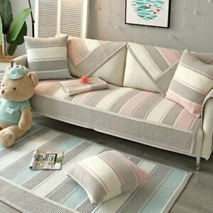 Sofa Cover Cotton Anti Slip Fresh Combination Cushion Stripe Room Sofa Cover