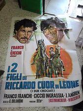 LOCANDINA FRANCO FRANCHI CICCIO INGRASSIA I DUE CROCIATI 200x140 RARA!!!