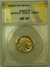 1938-D/S Buffalo Nickel 5c FS-514 OMM-4 ANACS MS-66 Light Rainbow Toning
