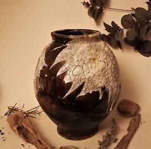 Studio Pottery..  stone ware Moon Jar ...  vase wabi sabi..