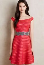 EUC MOULINETTE SOEURS Anthropologie Red Off Shoulder Dress Christmas 6 S M