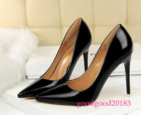 Women Pumps Patent Leather Pointed Toe Stilettos High Heels Party Ladies Shoes