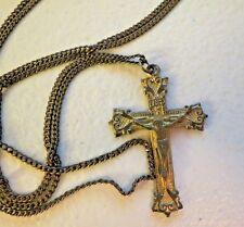 """VTG Antique Cross Crusifix Jesus Pendant Gold Filled 28"""" Chain Religious Chapel"""