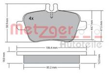 Bremsbelagsatz, Scheibenbremse für Bremsanlage Hinterachse METZGER 1170204