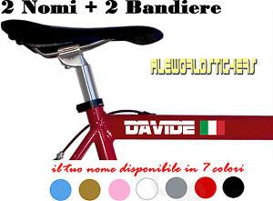 2 Adesivi NOME H 2 cm + 2 BANDIERE tuning STICKERS VINILE BICI MOTO CASCO custom