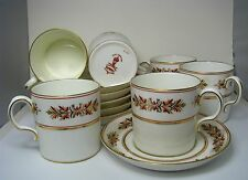 SET of 6 PORCELAIN CUPS SAUCERS DEMITASSE COFFEE Royal Crown Derby England 1940s