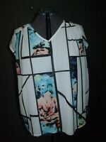 Worthington Top Blouse Women's Plus Sz 2x Sleeveless Lined Printed Multi-color