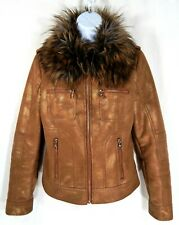 Guess Women's Coat Size XS X Small Faux Fur Collar Brown Gold Metallic