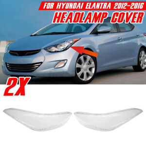 For Hyundai Elantra 12-16 Left + Right Headlight Lens Headlamp Cover Replacement