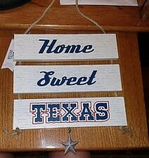 "Wooden 3 Piece ""Home Sweet Texas"" Plaque with Dangling Star, #2"