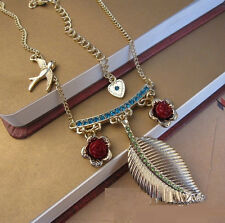 N199 Betsey Johnson Tropical Island Dove with Rose Dangling Leaf Necklace US