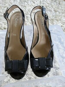 Gabor Black Patent leather Sling Back Shoes Size 6.5