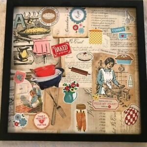 Retro Mom's Kitchen, Handmade OOAK Collage Framed Picture, Farmhouse Art, Mother