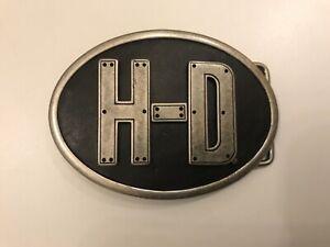 Harley-Davidson H-D oval men's belt buckle.Antique nickel plaited.Black leather.