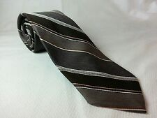 Ketch Brown Tie with Diagonal Stripes Shades of Brown Striped Neutral Subtle