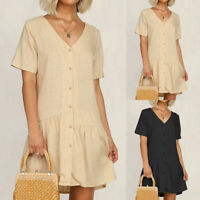 UK 8-26 Women Ladies Summer Smock Dress Holiday Beach Casual Loose Mini Sundress