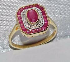 9ct Gold Ruby & Diamond Art Deco Design Cluster Ring - size L