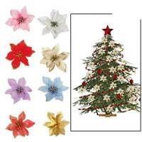 10 Pcs Glitter Poinsettia Flower Christmas Wreath Tree Decorations Xmas Gift L7