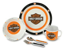 Harley-Davidson 5-Piece Kid's Dish Set. Baby Boy Cup Fork Spoon Bowl Plate