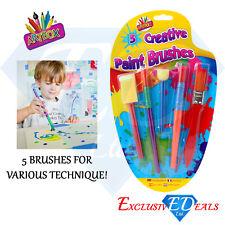 5 x Creative Paint Brushes - Art Box Kids Creative Brush Set - Brush / Sponge