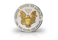 American Eagle 1 oz Silber 2019 USA veredelt mit 24 Karat Goldapplikation