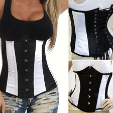 Steampunk Corset Black/White Cotume Steel Boned Underbust Waist Training S-6XL