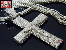 Hip Hop Franco Chain Pendant Cross Jesus Crystal Iced Out Silver Crucifix NEW