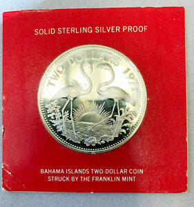 1971 Bahama Islands $2 Sterling Silver Proof Coin in Original Holder