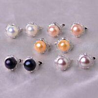 Natürlicher Perlen Schmuck 925 Sterling Silber 8-9mm staud Ohrringe Damenschmuck
