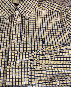 Ralph Lauren Boys Seersucker Long Sleeve Button  Shirt Youth M 10-12 Yellow