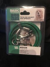 Basic Training Medium Weight Green Dog Tie Out Cable 15 feet Up To 50 Pounds