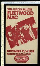 Fleetwood Mac 1979 Wplj Radio Station Promo Sticker; Madison Square Garden Show