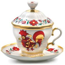 Russian Imperial Lomonosov Porcelain Teacup Saucer Lid Set Red Rooster Russia