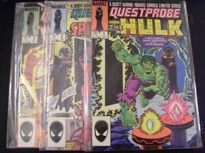 QUESTPROBE 1-3 MARVEL COMIC SET COMPLETE HULK SPIDER-MAN HUMAN TORCH 1984 VF